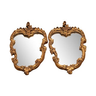 """Rococo Style Vintage Pair 25"""" x 14"""" x Gilt Carved Wall Mirrors For Sale"""