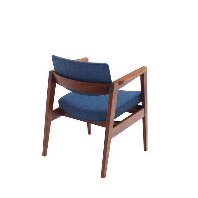 Set of 4 Solid Walnut Newly Upholstered Gunlocke Chairs For Sale - Image 9 of 11