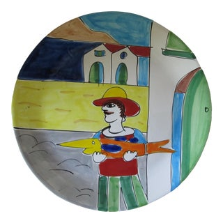 La Musa Italian Painted Pottery Platter For Sale