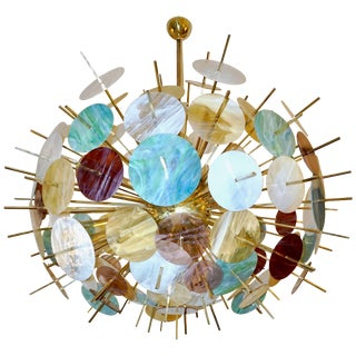 Contemporary Italian Brass & Pastel Colored Murano Glass Oval Sputnik Chandelier For Sale