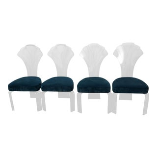Vintage Lucite & Teal Velvet Chairs - Set of 4
