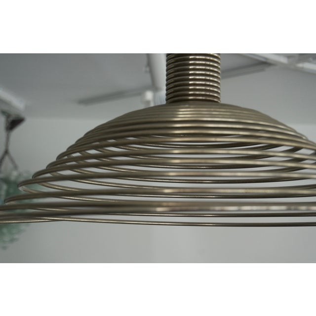 Metal Spiral Spring Chrome Industrial Style Chandelier by Angelo Mangiarotti For Sale - Image 7 of 13