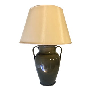 Monumental Vintage Ceramic Jar Lamp in Grey-Olive Craquelé Glaze For Sale