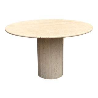 Italian Round Travertine Stone Dining or Center Table For Sale