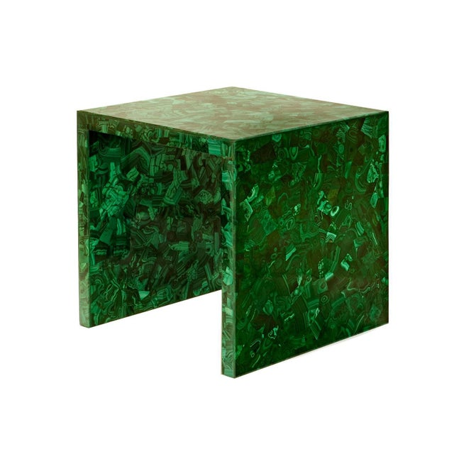 """Semi-precious veneer side table shown in Malachite on a wood frame. Dimensions : 18""""w x 18""""d x 18""""h. Due to use of natural..."""