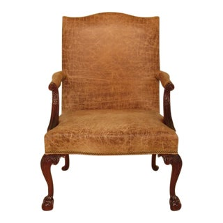 Southwood Chippendale Mahogany Leather Library Chair For Sale