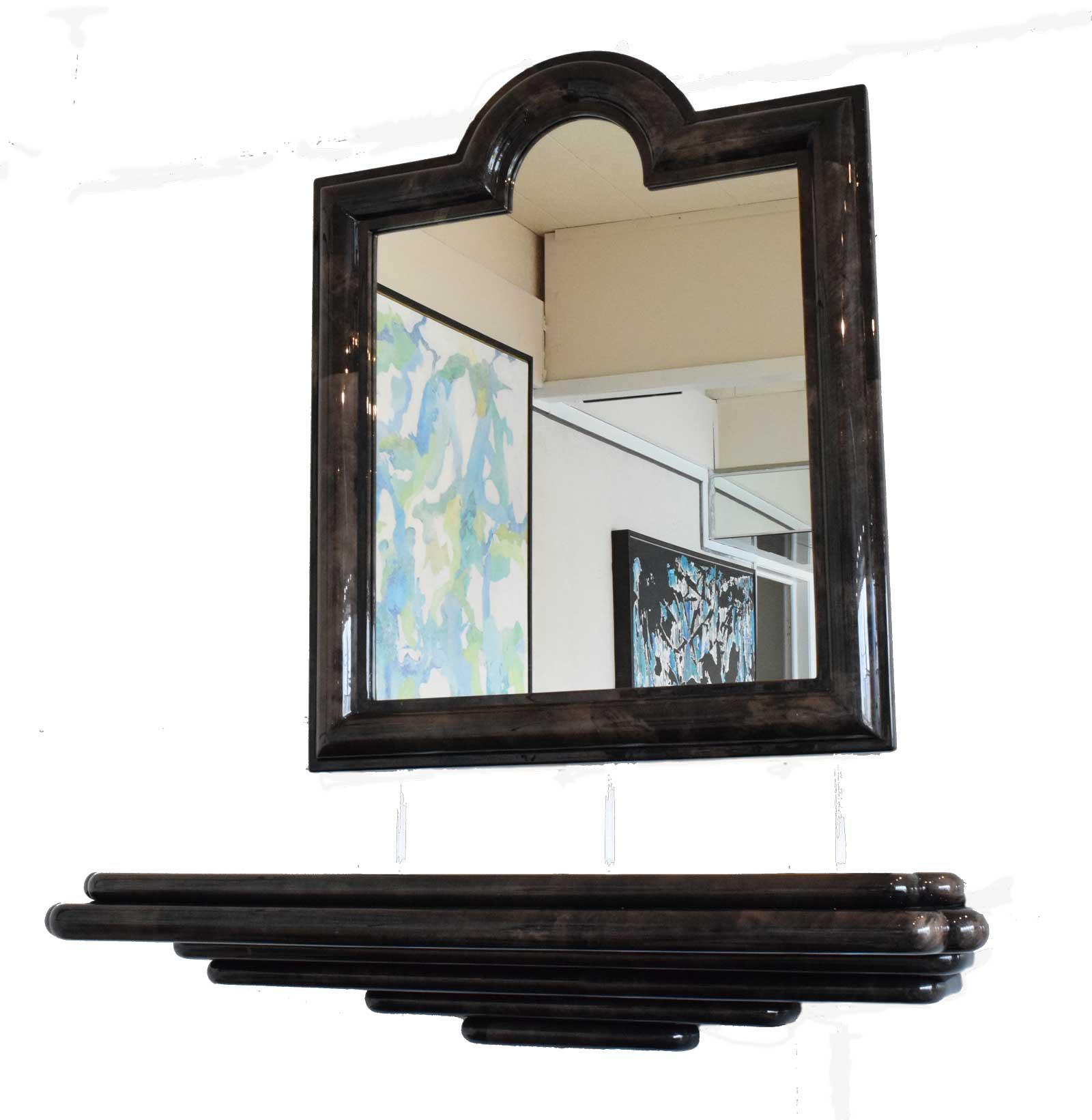 Goatskin Wall Mount Console And Mirror   2 Pieces
