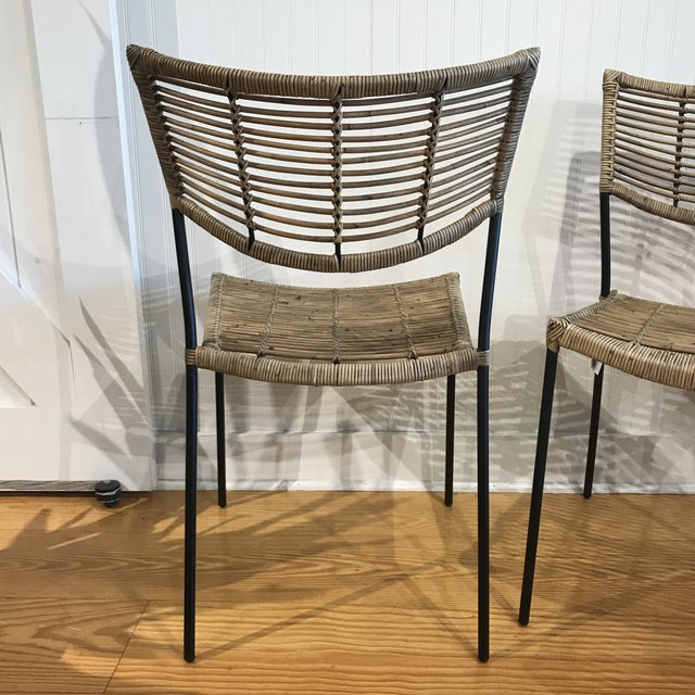Metal Modern Rattan and Wrought Iron Dining Side Chairs- 2 Left For Sale - Image 7 of 11
