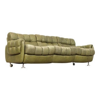Vintage Mid Century Green Leather Three-Seat Sofa