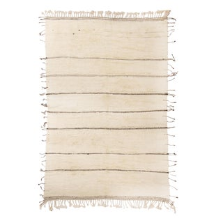 Moroccan White and Black Wool Rug With Pile - 9′10″ × 13′6″ For Sale