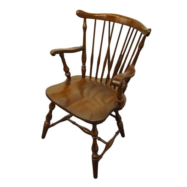Pennsylvania House Solid Cherry Fiddleback Duxbury Windsor Arm Chair For Sale - Image 12 of 12