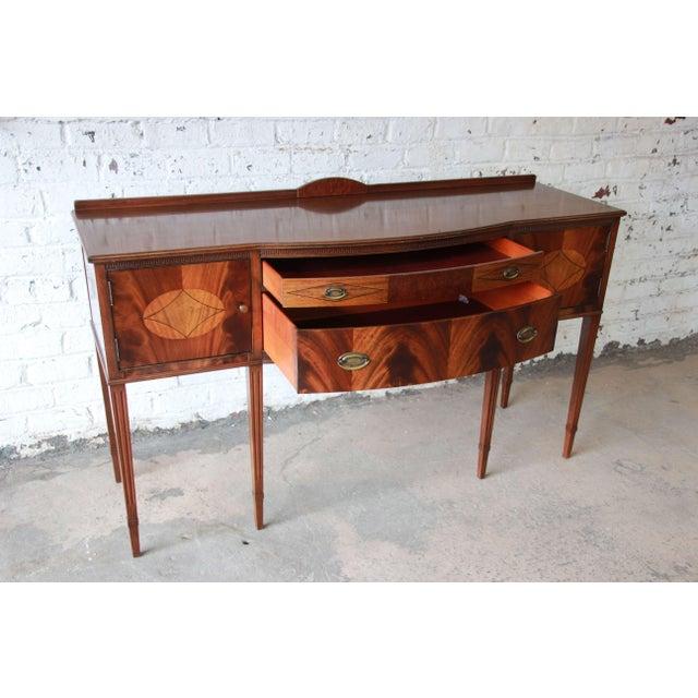 Charles Limbert Limbert Hepplewhite Style Inlaid Flame Mahogany Sideboard Buffet, Circa 1930s For Sale - Image 4 of 11
