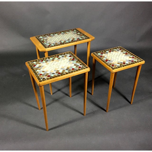 Mid-Century Modern 1960s Birch & Glass Mosaic Nesting Tables, Set of 3 For Sale - Image 3 of 12