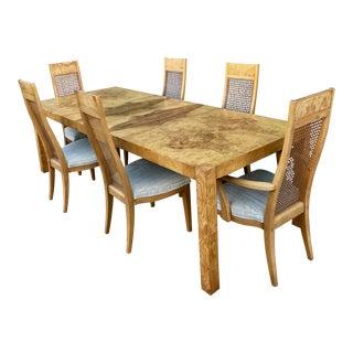 Six Milo Baughman Burlwood & Cane Dining Chairs