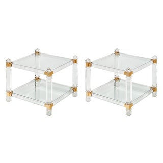 French Modernist Lucite and Brass Side Tables - a pair For Sale
