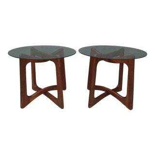 Adrian Pearsall Walnut & Glass Side Tables - Pair For Sale