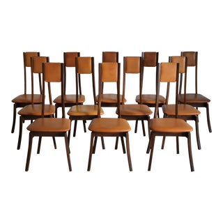 Angelo Mangiarotti Leather Dining Chairs - Set of 12 For Sale
