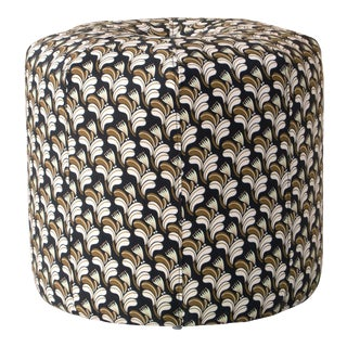Seamed Ottoman in Deco Floral Gold Blush Oga For Sale