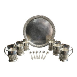 Magnificent Persian Silver Tea Set by Vartan - Set of 13