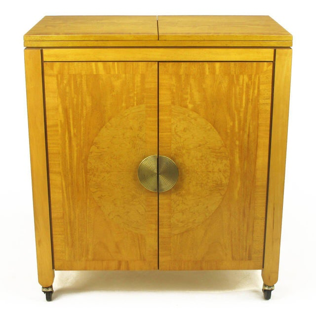 Art Deco Charles Pfister for Baker Primavera Mahogany Parquetry Bar Cabinet For Sale - Image 3 of 10