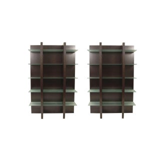 Modern Cantoni Vision Oak + Frosted Glass Bookshelves - a Pair For Sale