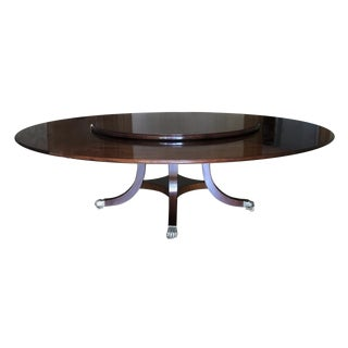 1970s Hollywood Regency William Tillman Mahogany Round Dining Table For Sale