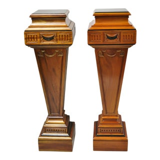 20th Century French Empire Neoclassical Mahogany Wood Pedestal Plant Stands - a Pair For Sale