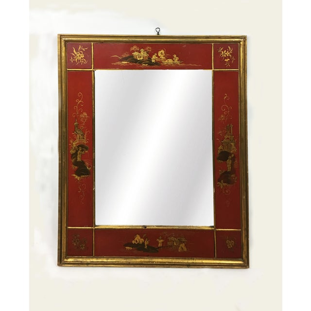 Metal 20th Century Chinoiserie Red Mirror Frame For Sale - Image 7 of 7