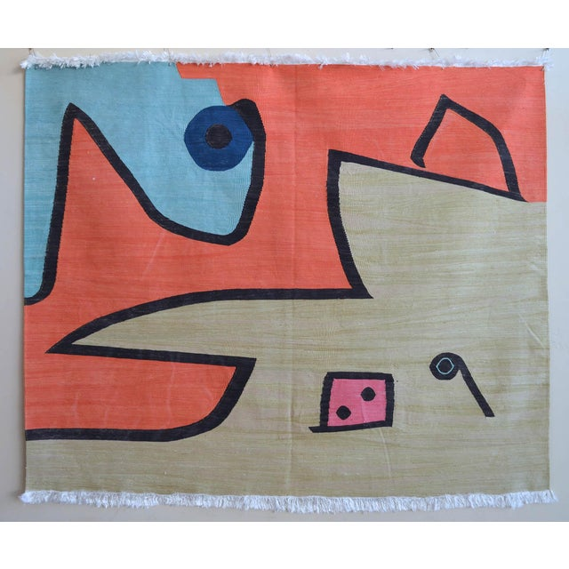 Paul Klee - Silence of the Angel - Inspired Silk Hand Woven Area - Wall Rug 4′7″ × 5′7″ For Sale - Image 11 of 11