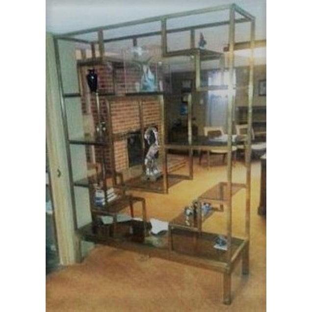 Mid-Century Italy Bronze Metal Etagere With Bronze Glass Shelves ...