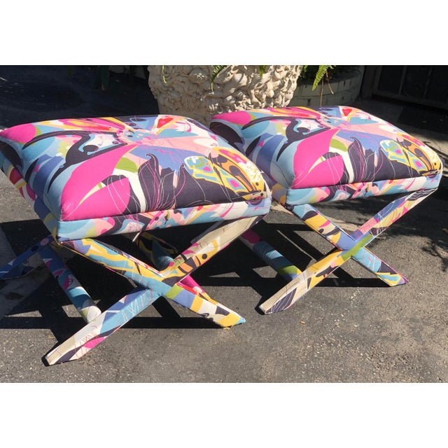 Modern Diane Von Furstenberg Post Modern Butterfly Explosion X Benches - a Pair For Sale - Image 3 of 5