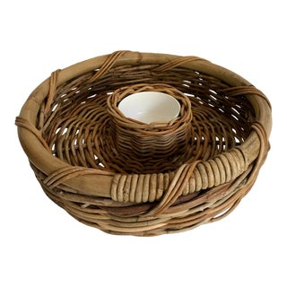 Vintage Woven Bamboo and Rattan Chip and Dip Serving Set For Sale