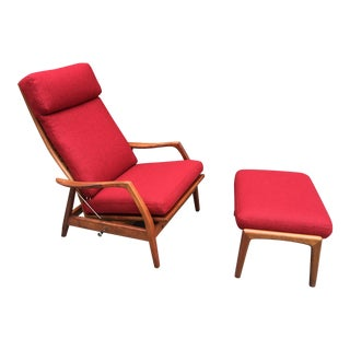 Dux Teak Lounge Chair/Recliner and Ottoman in Red Wool For Sale