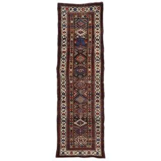 19th Century Caucasian Tribal Kazak Hallway Runner - 3′6″ × 11′6″ For Sale