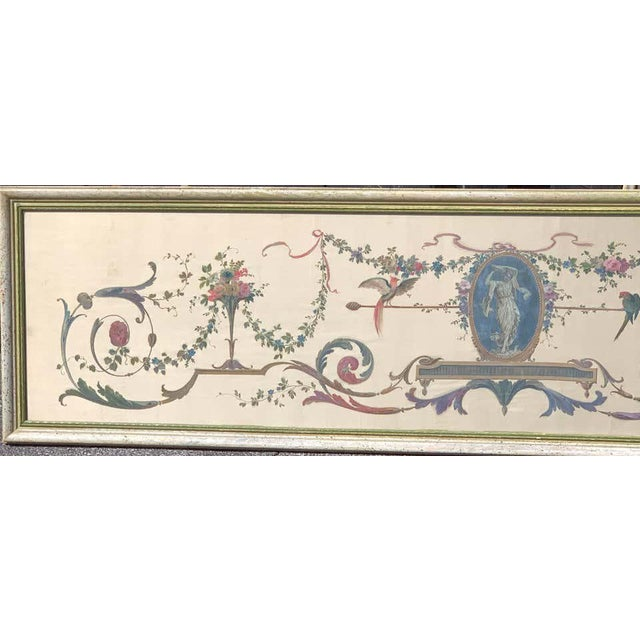 English Robert Adam Style Painted Interior Architectural Panel, Framed For Sale - Image 3 of 10