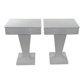 Vintage 1930s Grosfeld House Nightstands Palm Beach White Drapery Hollywood Regency - a Pair For Sale