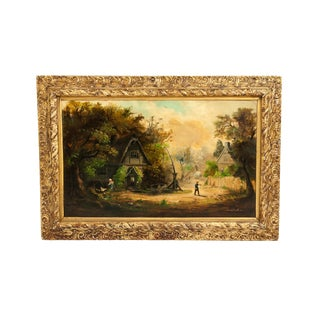 German Oil / Canvas Painting in Giltwood Frame For Sale