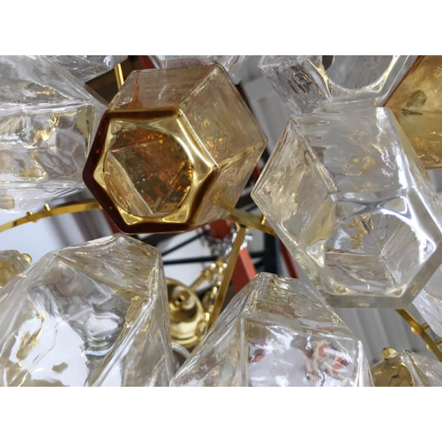 Chandelier Murano Glass Poliedro Transparent and Gold and Amber For Sale - Image 6 of 13