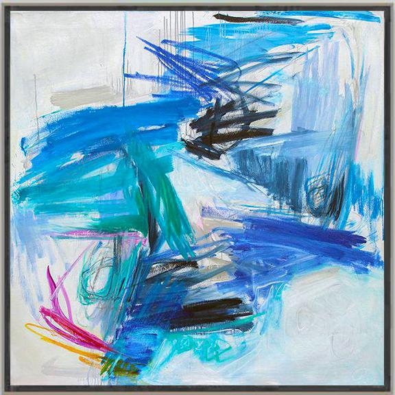 "Blue Trixie Pitts's ""Chasing Coral"" Large Abstract Oil Painting For Sale - Image 8 of 10"