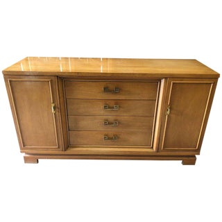 Mid-Century Modern Henredon Credenza With Greek Key Handles For Sale