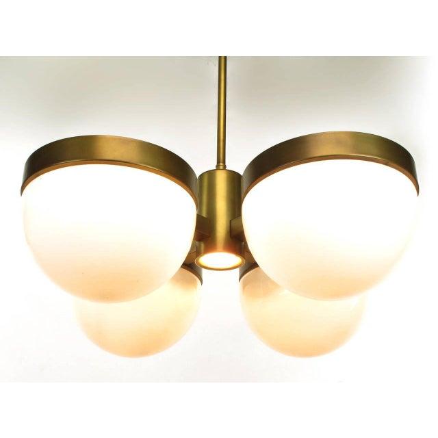 1970s Feldman Lighting Five-Light Hemispherical Milk Glass and Brass Pendant For Sale - Image 5 of 10