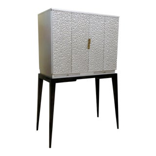 Century Furniture Contemporary Artefact Luna Bar Cabinet in Silver Leaf For Sale