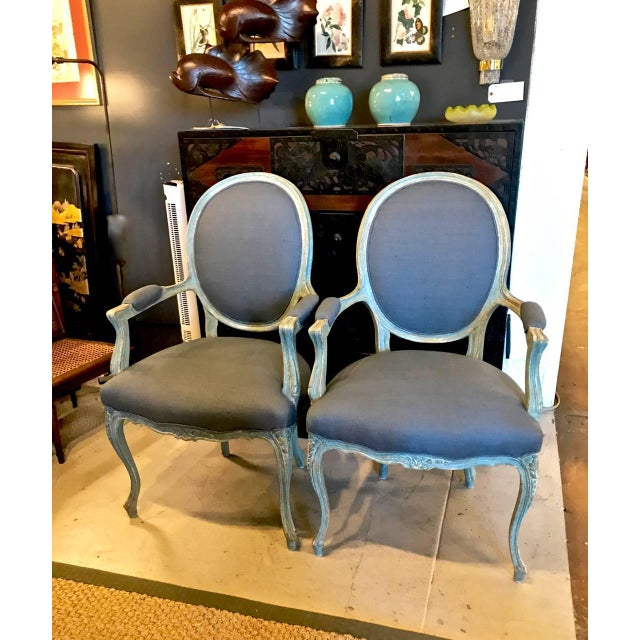 Pair of 19th Century French Louis XV Fauteuils/Open Armchairs For Sale In Los Angeles - Image 6 of 6