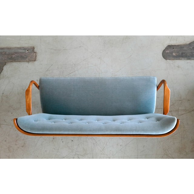 1950s Fritz Hansen Attributed 1940s Sofa or Settee With Open Armrests and Spindle Back For Sale - Image 5 of 7