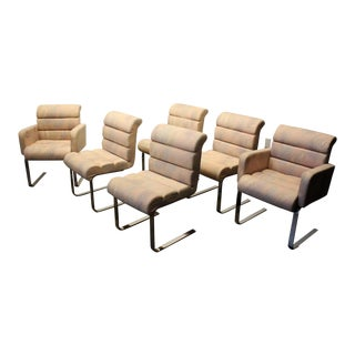 Set of Six Mid Century Modern Pace Collection Cantilever Chrome Dining Chairs For Sale