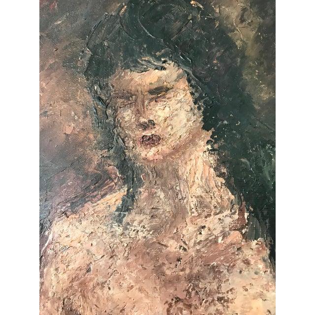 Figurative Vintage Impressionist Mild Impasto Paint Style Nude Portrait on Framed Board For Sale - Image 3 of 11