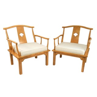 Century Hollywood Regency Mahogany Spade Lounge Chairs - a Pair