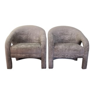 Vintage Vladimir Kagan Style Concrete Gray Chenille Chairs- A Pair For Sale