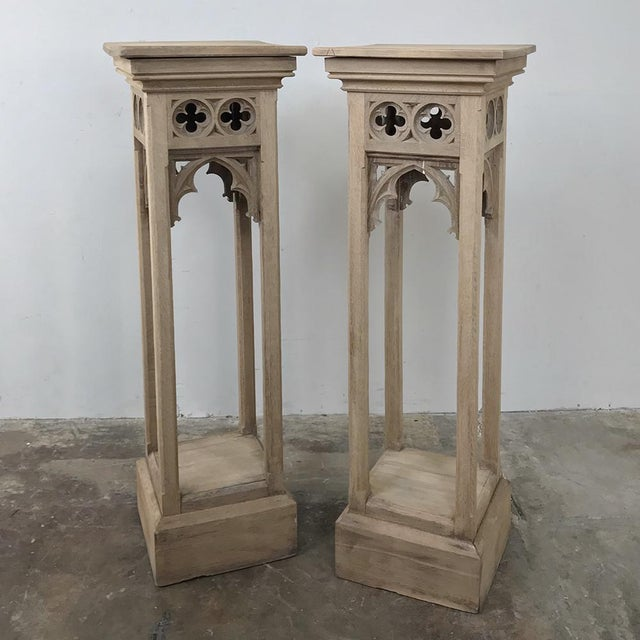 Pair 19th Century Gothic Stripped Oak Pedestals For Sale - Image 11 of 11