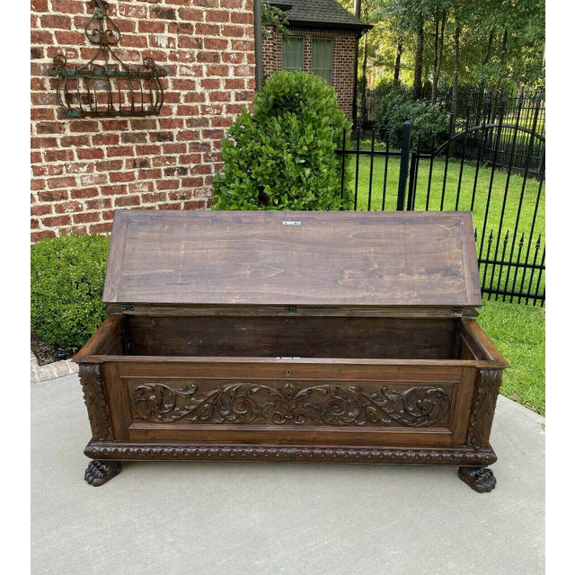 Antique Italian Walnut Blanket Trunk For Sale - Image 10 of 13